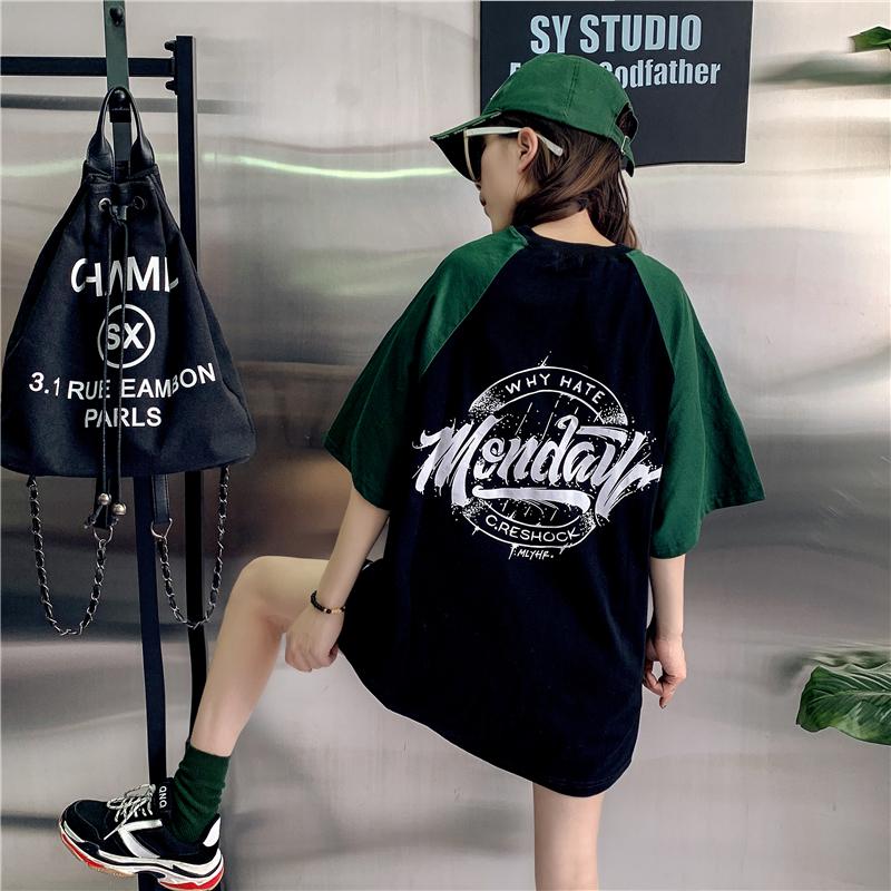 女中长款短袖2021新款欧货大版t恤