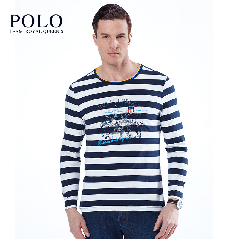 Royal Paul mens round neck stripe long sleeve T-shirt authentic polo shirt mens Pullover printed mens bottoming cotton