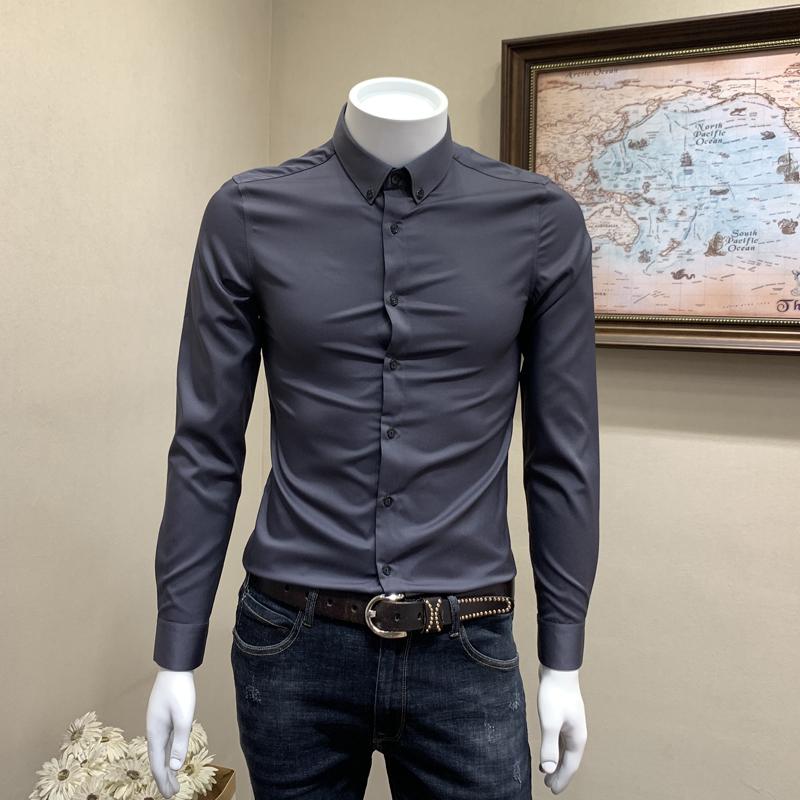 男士长袖衬衫秋冬季英伦绅士商务休闲纯色衬衣韩版修身发型师寸衫图片