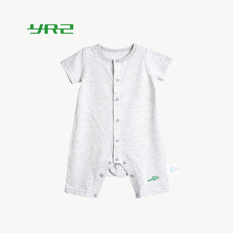 Baby summer Jumpsuit ultra thin short sleeve ha Yi male 1-year-old 9 baby leisure climbing suit pure cotton Jumpsuit