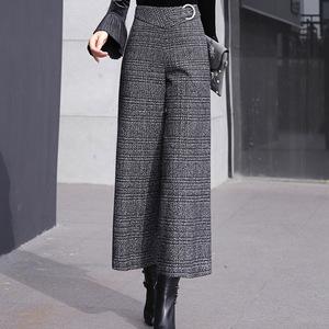 高腰加厚羊毛呢阔腿裤女秋冬宽松显瘦垂感长裤羊绒呢格子裙裤女裤