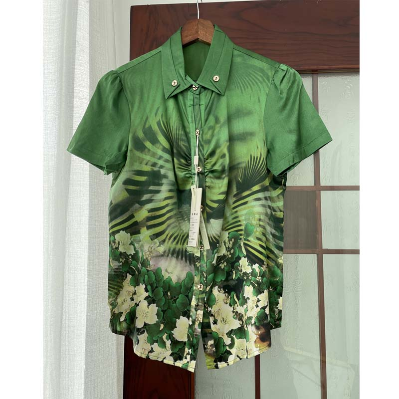 Silk middle aged and old womens Short Sleeve Shirt Top mulberry silk mothers summer dress grandmothers silk woman