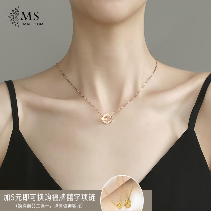限时2件3折韩版新款轻奢冷淡风包18K玫瑰金色项链女简约气质ins个性感锁骨链