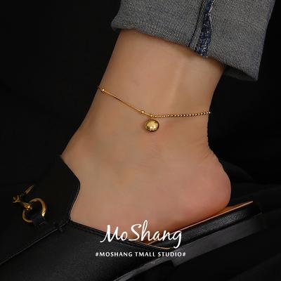 韩版LUCKY小金豆幸运吊坠脚链女性感小众网红钛钢高级感简约时尚