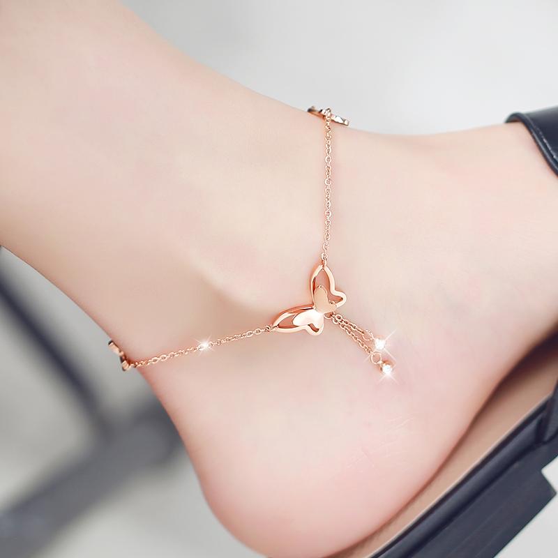 韩版新款蝴蝶脚链女18K玫瑰金色彩金钛钢简约性感网红潮学生饰品