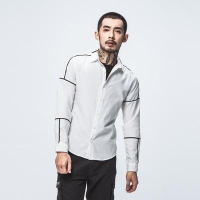 日系大码衬衫男秋季拼接长袖衬衫 cs11P55(已质检