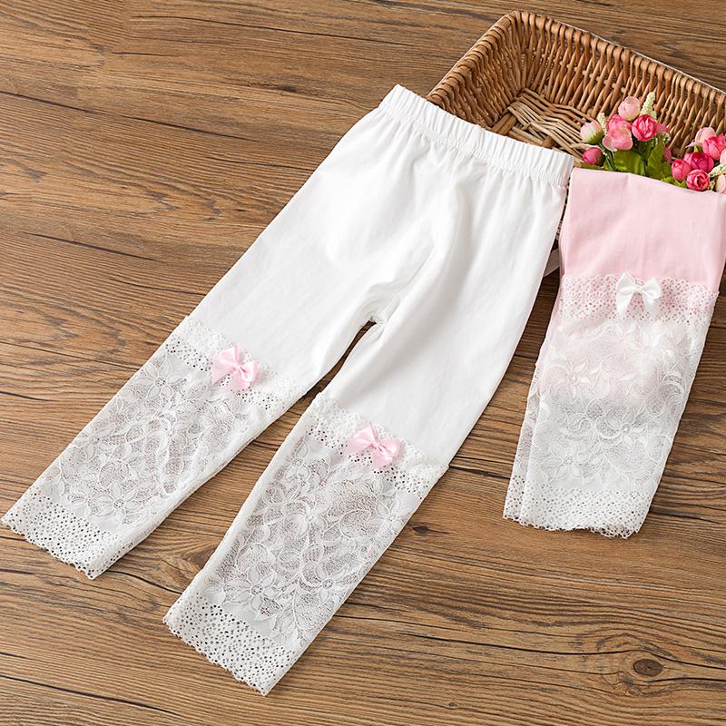 女童打底裤夏季薄款女孩外穿七分裤蕾丝白色儿童短裤莫代尔裤子热销91件限时秒杀