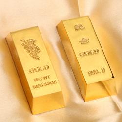 合金仿真金条金砖中国黄金镀金色合金金条样品假金条道具