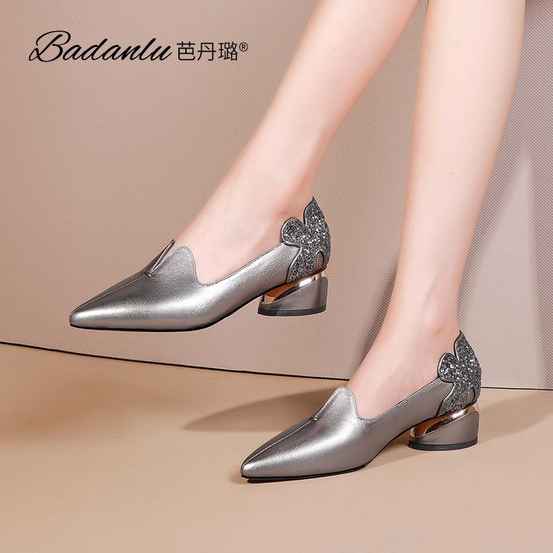 中跟单鞋女2020秋季新款百搭真皮粗跟亮片小皮鞋时尚尖头女士鞋子
