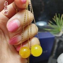 天然琥珀鸡油黄项链AU750新款长短调节时尚颈饰18K金蜜蜡锁骨链