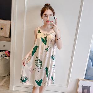 夏季吊带睡衣纯棉女士棉绸家居服学生公主可爱大码宽绵绸吊带睡裙