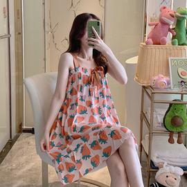 网红同款ins风吊带睡裙少女甜美可爱性感棉绸睡衣女夏季超薄款图片