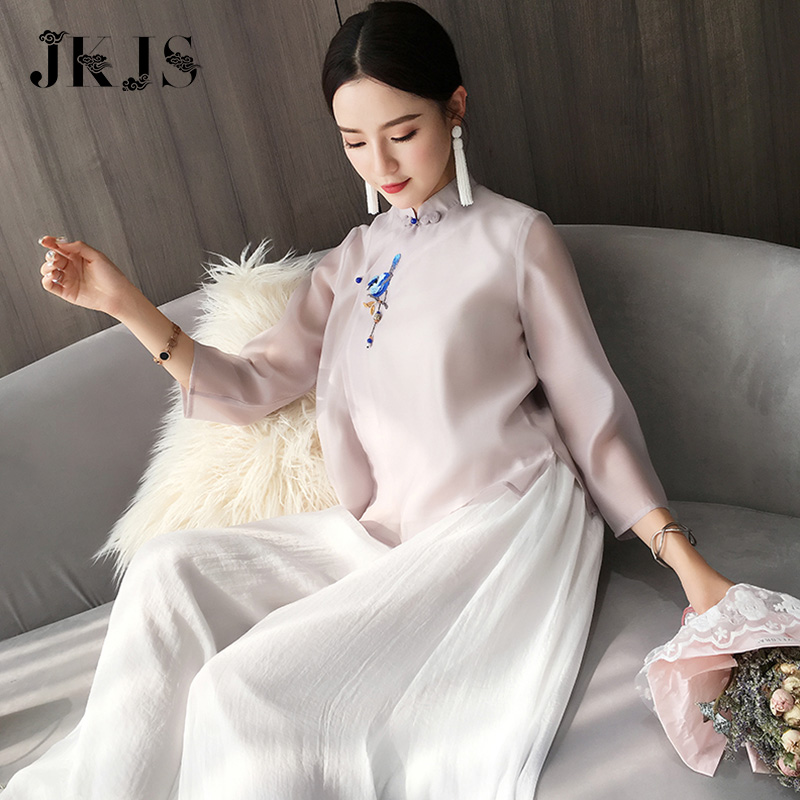 Hanfu female autumn Chinese style Han element women's daily improvement version of Tang suit Republican style modern