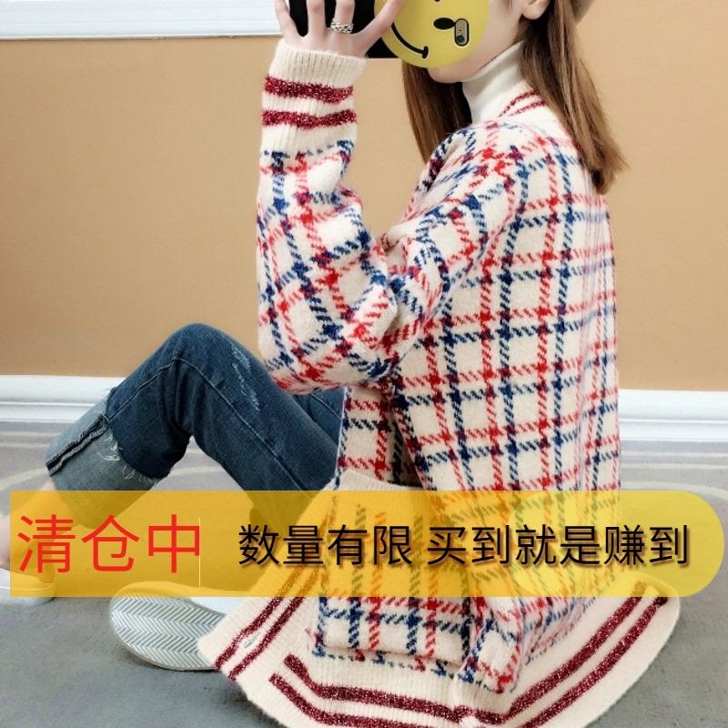 Thickened lazy sweater womens coat spring 2018 new Korean loose thin medium length sweater womens cardigan