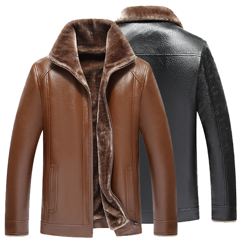 Autumn and winter middle-aged and old peoples fur one body mens leather jacket large size loose dads Plush thickened coat