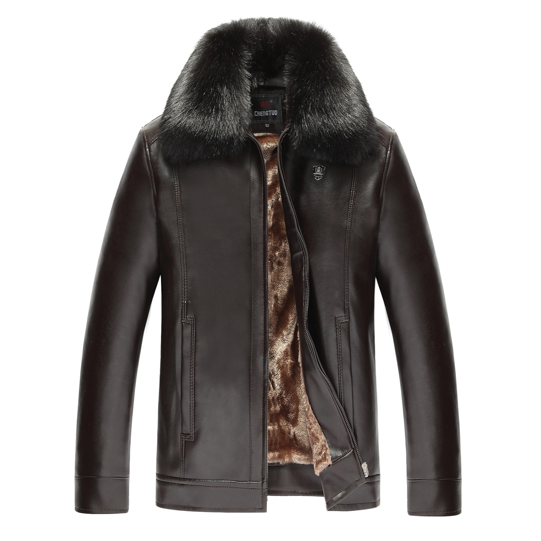 秋冬款中年男士皮衣加绒加厚保暖皮夹克冬外套爸爸装中老年皮衣男