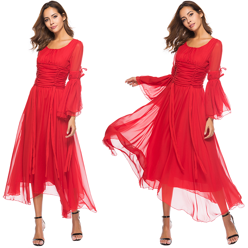 Real shot foreign trade trumpet sleeve Round Neck Lace Up Dress Red slim long beach skirt Fairy Dress 3129#