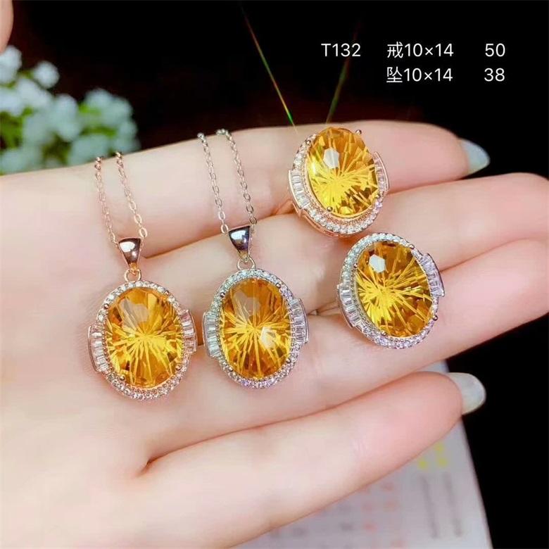 Seiko Zhaocai S925 Sterling Silver Plated 18K gold inlaid Topaz jewelry set Jurchen silver jewelry pendant ring B