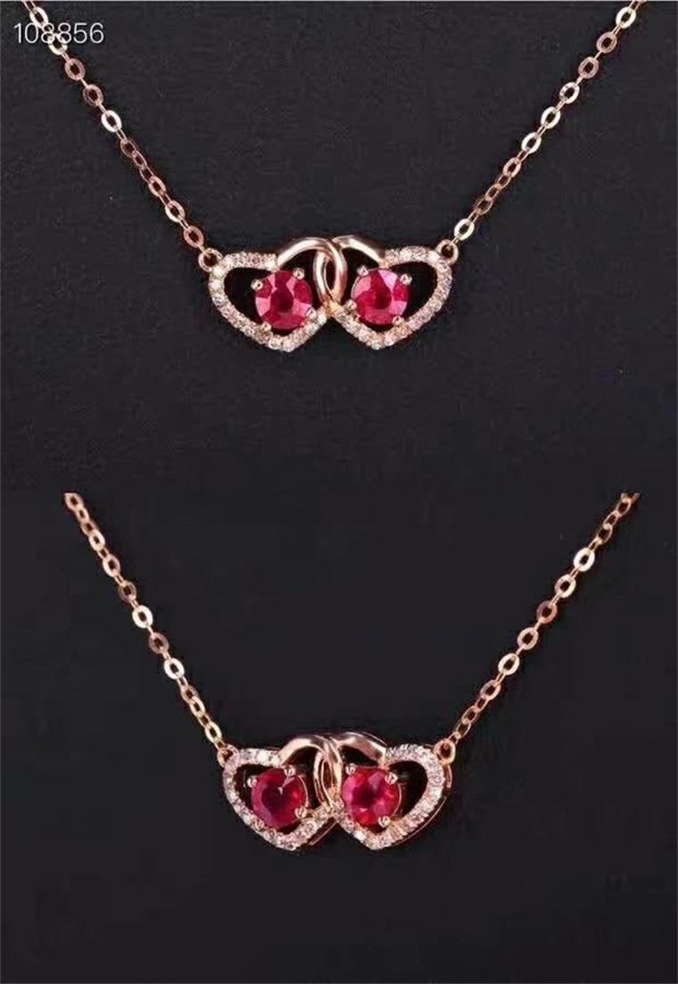 爱心款S925纯银镀18K金天然红宝项链 链牌套链女款宝石锁骨颈链L