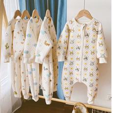 新款宝宝夹棉分腿睡袋秋冬儿童纯棉连体衣男童女童防踢被薄棉睡衣
