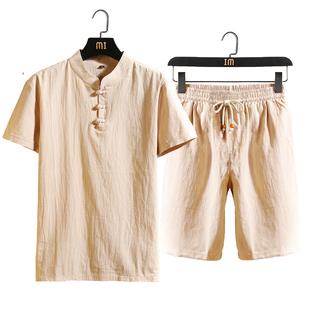 夏季中年男裝爸爸短袖T恤40-50歲中老年亞麻短褲父親夏裝棉麻套裝