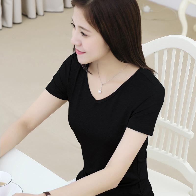 纯色简单v领短袖莫代尔t恤女士鸡心领木代尔打底衫黑色短款半袖夏59.00元包邮