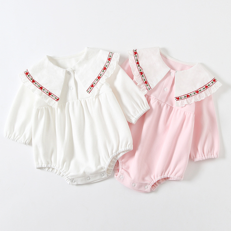 Baby girls 2021 spring creeping suit baby Lapel embroidered Khaki babys love leaf one-piece powder