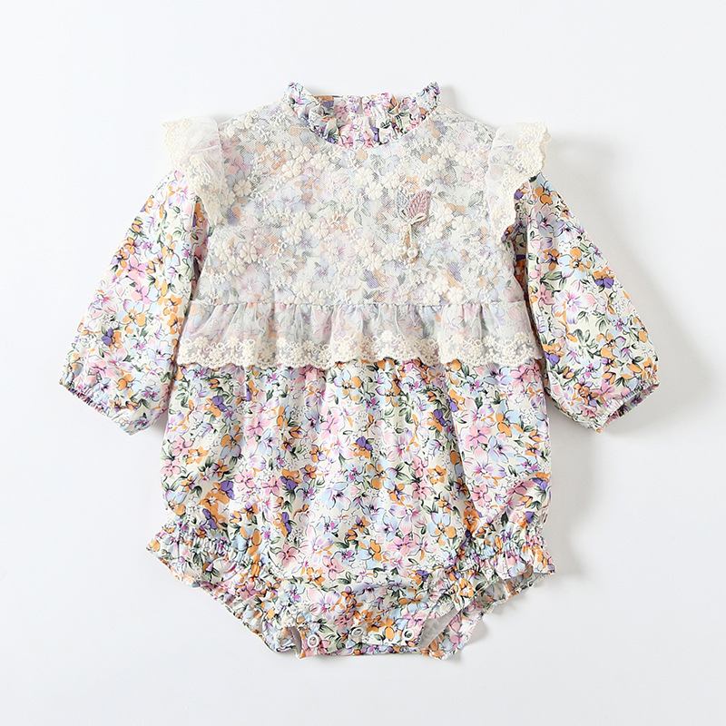 Womens autumn 2020 pack fart clothes Korean version baby small broken flower ha clothes one-piece clothes one-piece clothes small fresh climbing clothes