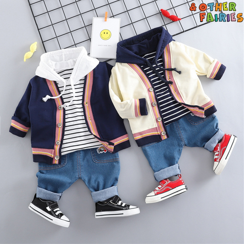 Childrens wear spring and autumn 2020 new Korean striped cardigan hooded top jeans set cotton loose childrens wear