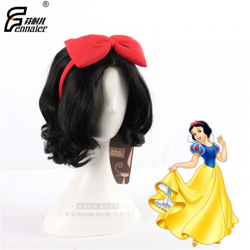 Disney Snow White black short curly hair Cosplay animation wig in stock