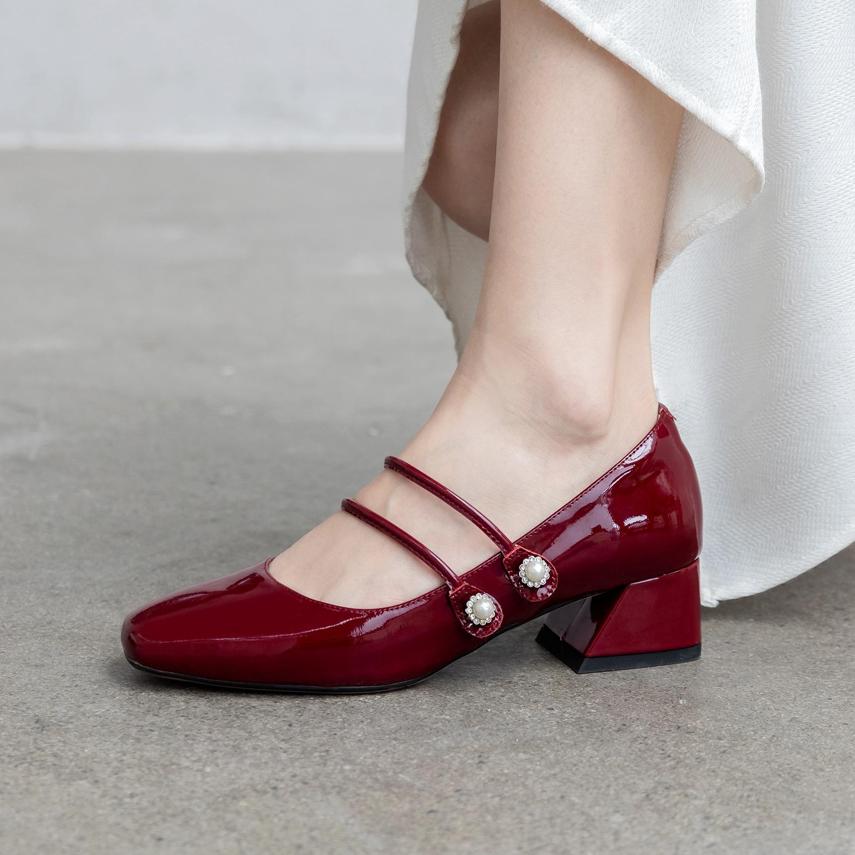 小ck玛丽珍鞋何其丑红色小皮鞋粗跟女单鞋中跟方头赫本复古鞋凉鞋