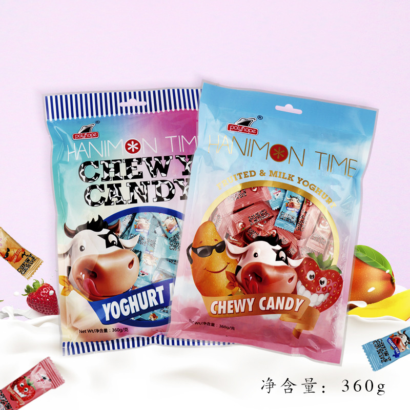 Polyhop Indonesia imported yoghurt candy fruit milk fudge childrens leisure snack candy 360g / 42g
