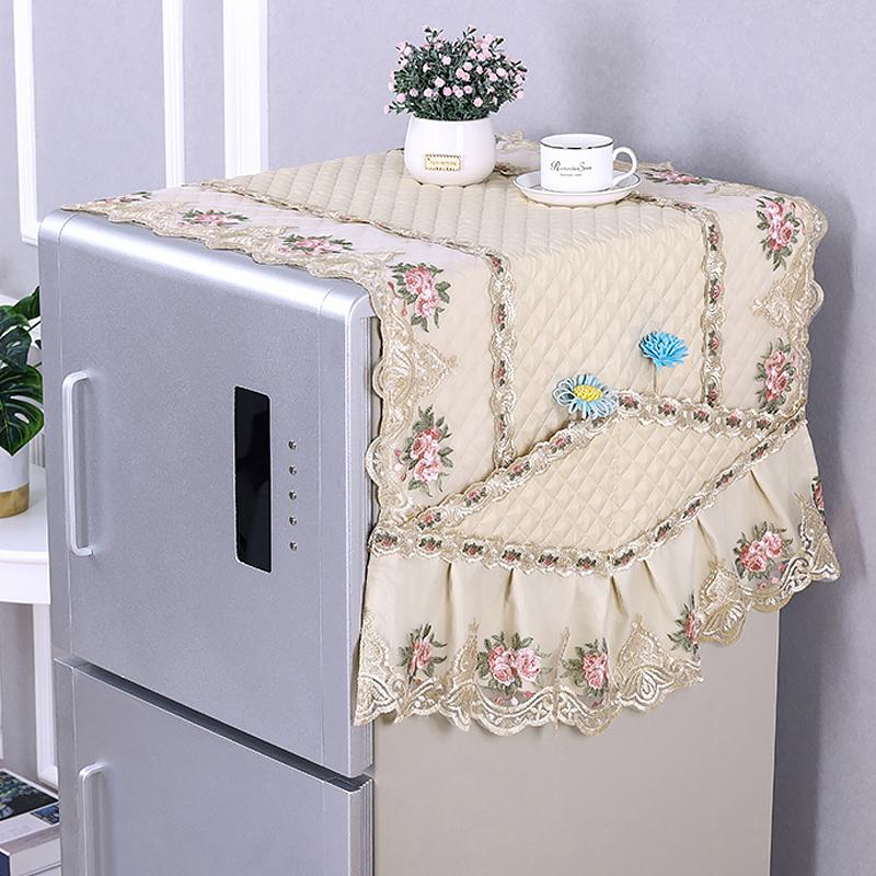 刺绣冰箱盖布布艺简约现代冰箱罩防尘罩蕾丝盖巾单双开门冰箱套淘宝优惠券