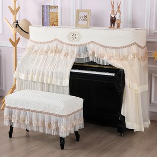 典雅大气韩式加厚钢琴罩欧式钢琴全罩布艺中开钢琴套防尘罩凳罩