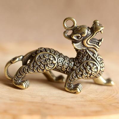 创意黄铜钥匙扣纯铜手工招财麒麟挂件小吊坠复古汽车钥匙链男礼品