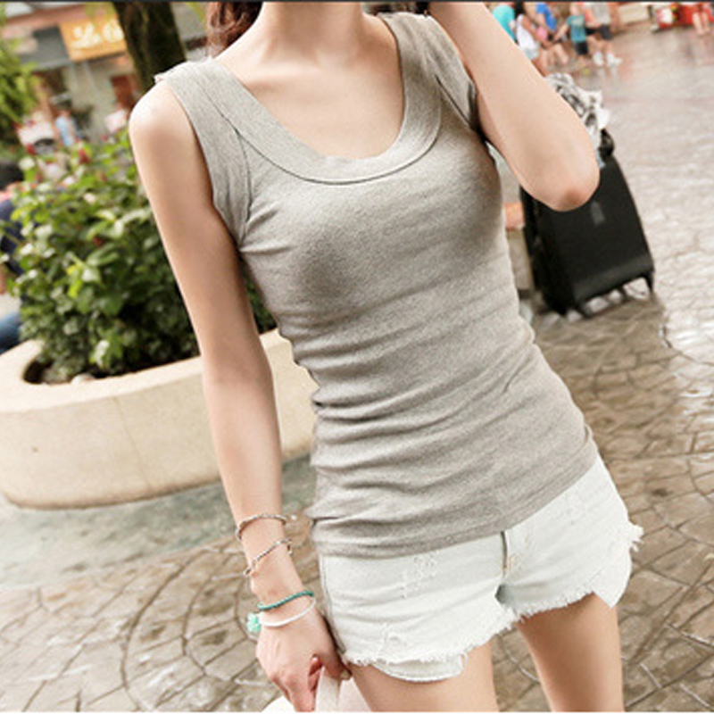 Round neck wide shoulder sling vest for womens bottoming and slim thread cotton