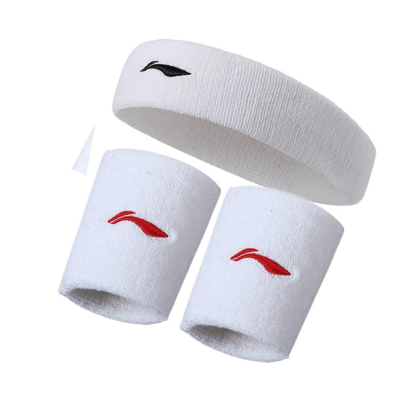 Li Ning Sports headband mens and womens headband sweat band fitness basketball running pure cotton Hair Band Wristband suit sweat band