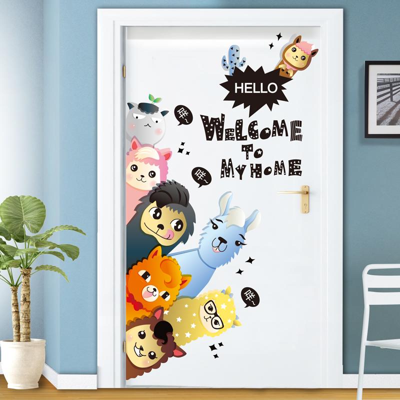 门贴ins墙纸自粘卡通儿童房间卧室装饰壁纸贴画叠猫猫墙画墙贴纸