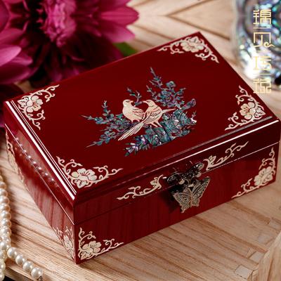 锦贝传说螺钿漆器首饰盒小实木质珠宝饰品证件盒简约欧式结婚礼物
