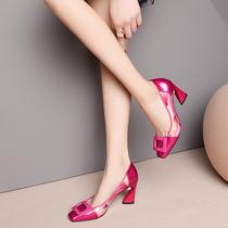 玫红色亮皮女鞋漆皮方头浅口鞋2020春夏季新款百搭高跟单鞋女粗跟