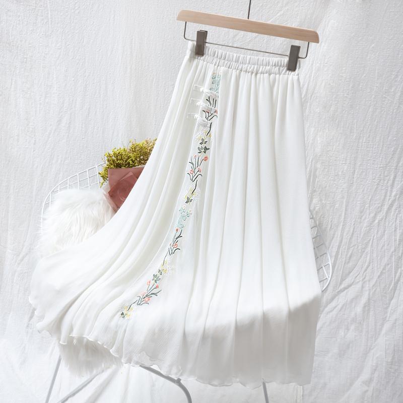 夏季新款雪纺裙中国风刺绣花半身裙文艺复古中长款很仙的白纱裙子