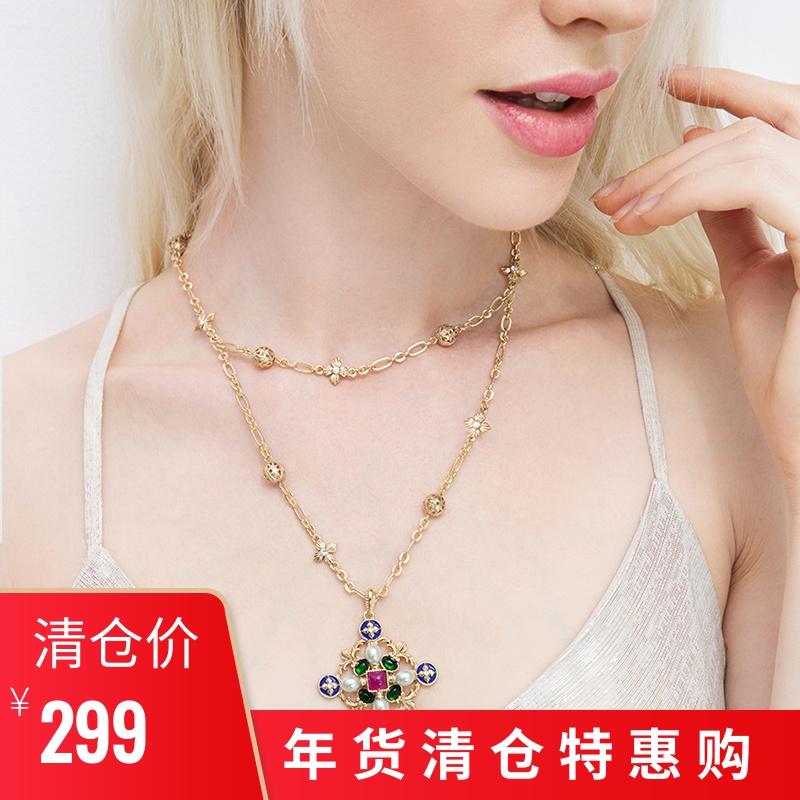 YUANIRIS苑思比 宫廷风十字勋章古董珠宝感双层项链女款流行饰品