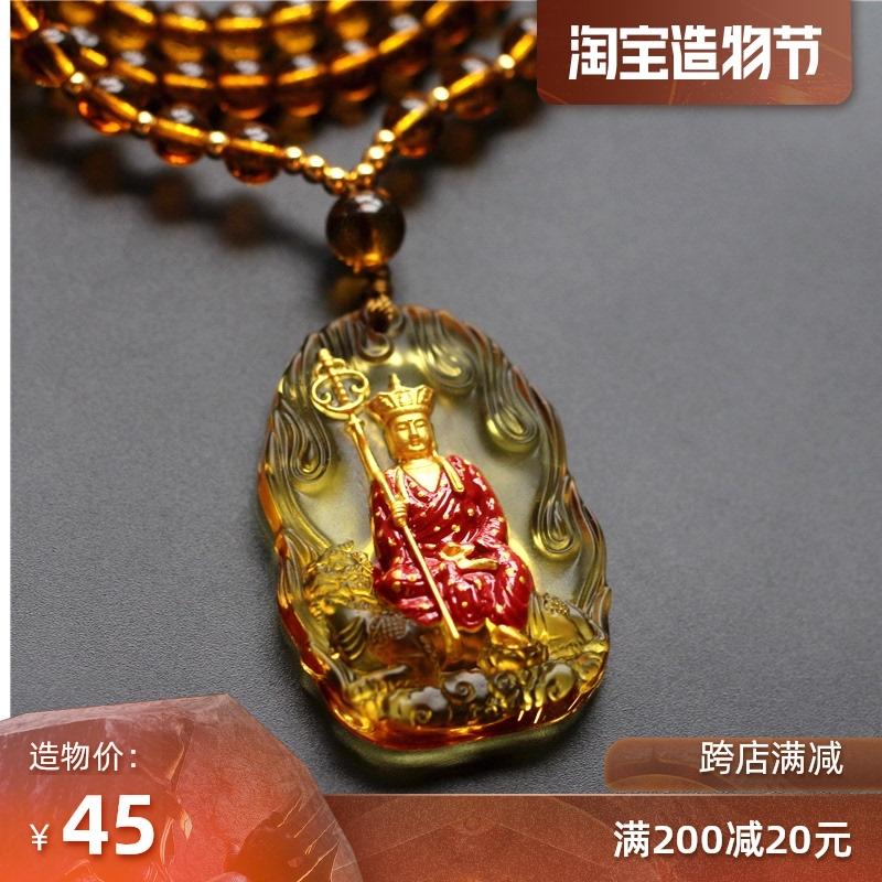 原创设计佛像九华山地藏王菩萨谛听坐像水晶唐彩琉璃项链吊坠饰品