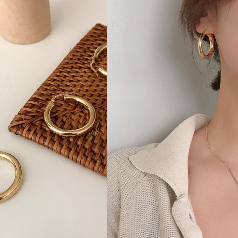 欧美简约chic百搭粗款小圆环圆圈镀金色银色防过敏钛钢耳饰耳环女