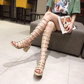 高筒罗马露趾凉靴2020夏新款女鞋