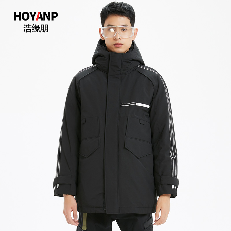 Haoyuanpeng 2019 new mens down jacket hooded fashion handsome trend tooling mens winter coat special price