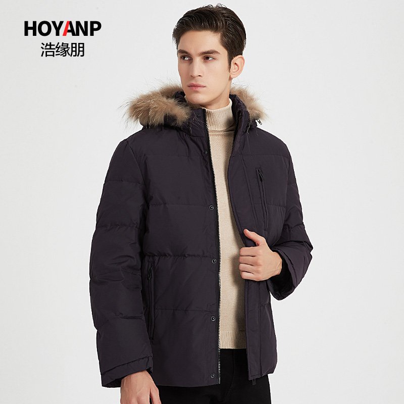 Hoyanp / haoyuanpeng 2019 new popular mens wool collar short down jacket thickened mens winter coat
