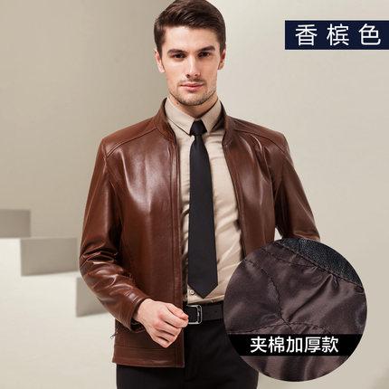 刚败的一款男式真皮皮衣  修身短款立领外套 头层绵羊皮