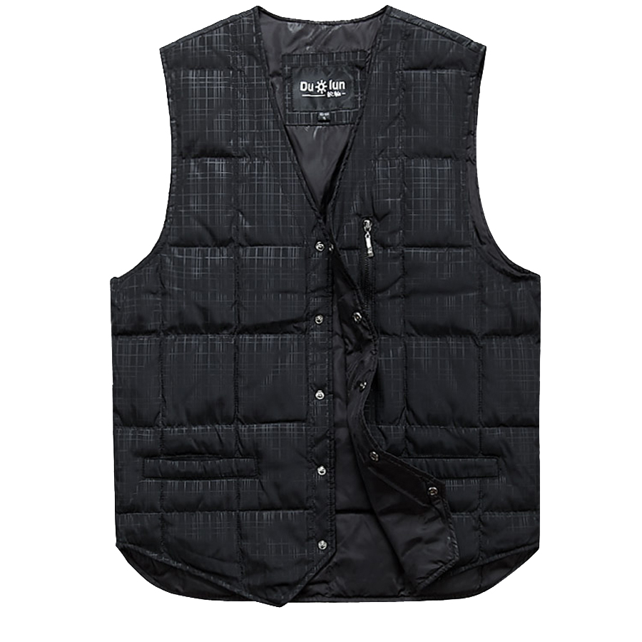 Middle aged and old mens down vest in autumn and winter