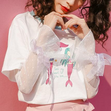 短袖心机t恤女小众设计感图片